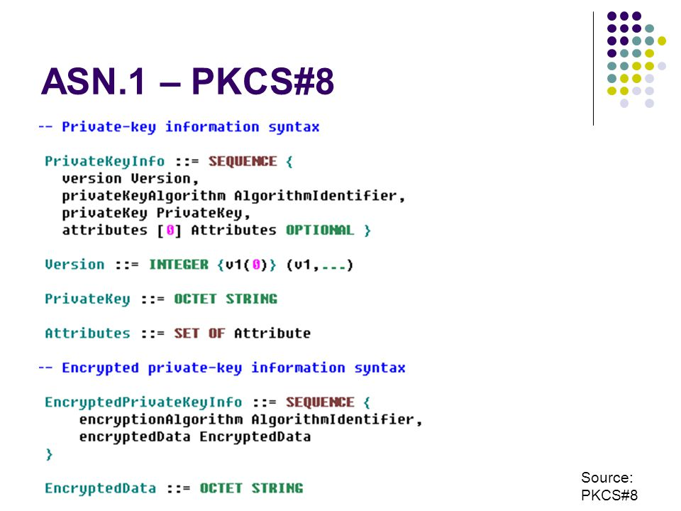 ASN.1 – PKCS#8 Source: PKCS#8
