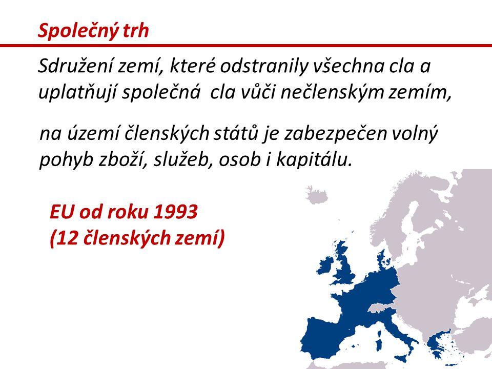Společný trh Sdružení zemí, které odstranily všechna cla a uplatňují společná cla vůči nečlenským zemím, na území členských států je zabezpečen volný