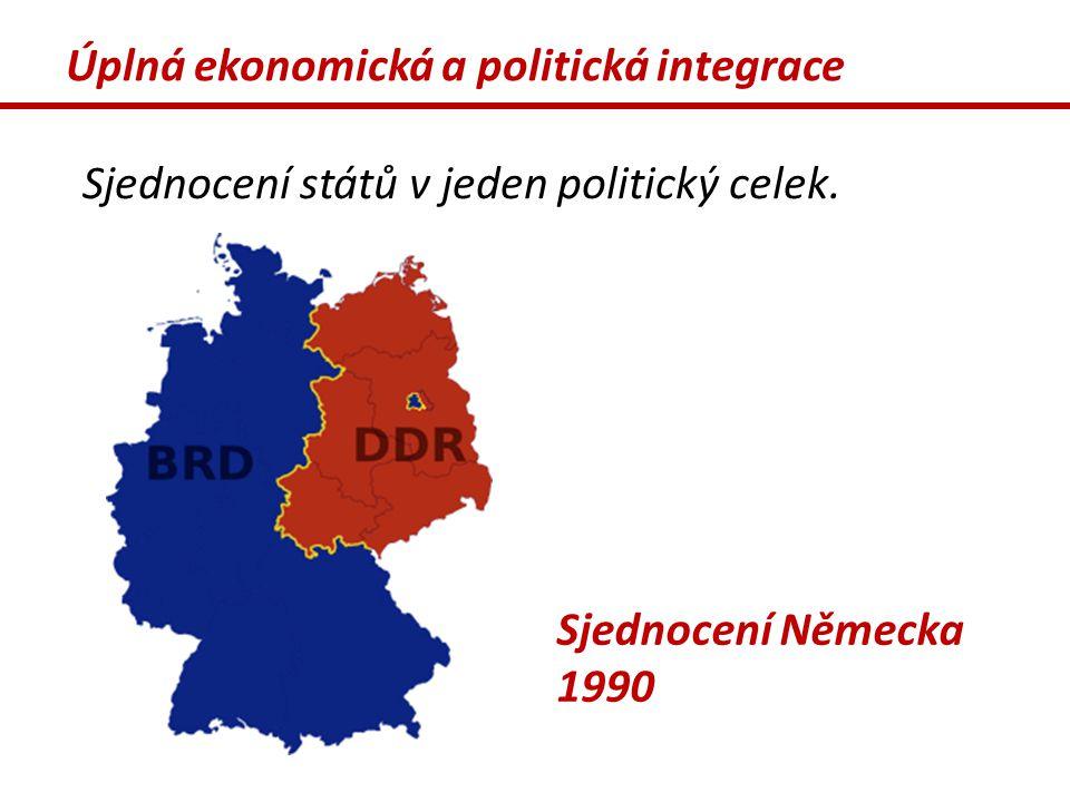 Úplná ekonomická a politická integrace Sjednocení států v jeden politický celek. Sjednocení Německa 1990