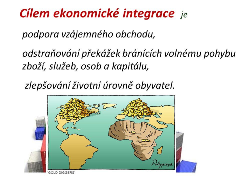 Cílem ekonomické integrace je podpora vzájemného obchodu, odstraňování překážek bránících volnému pohybu zboží, služeb, osob a kapitálu, zlepšování ži