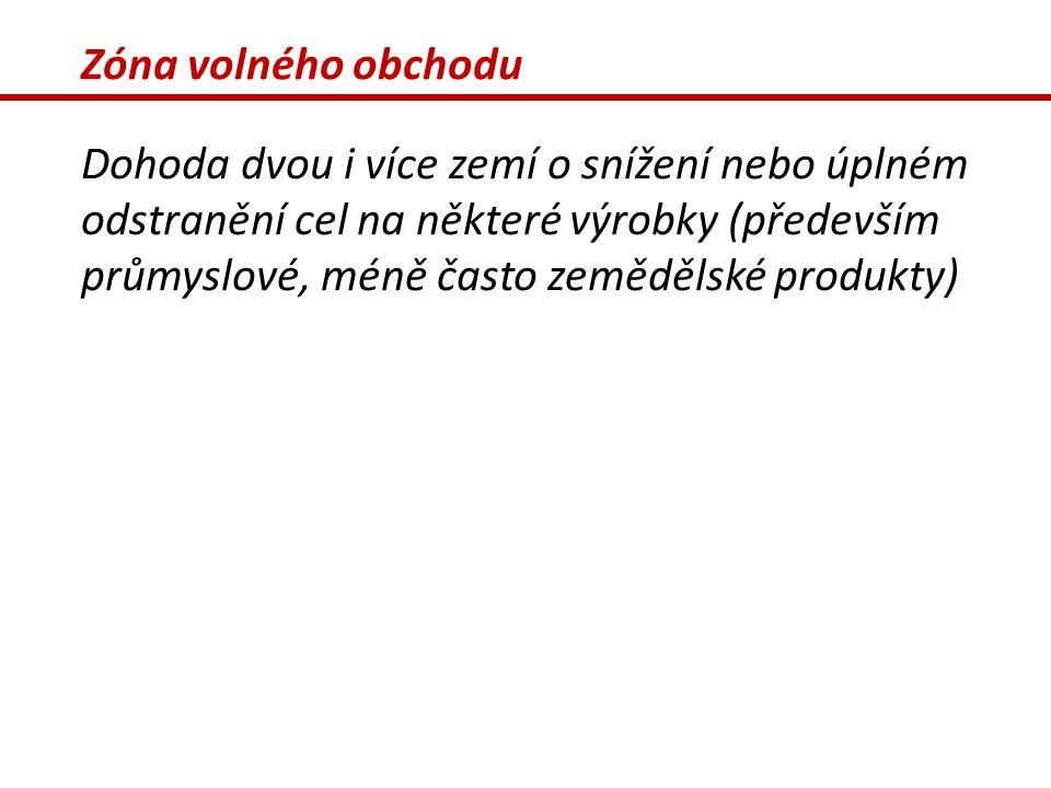 Zóna volného obchodu Dohoda dvou i více zemí o snížení nebo úplném odstranění cel na některé výrobky (především průmyslové, méně často zemědělské prod