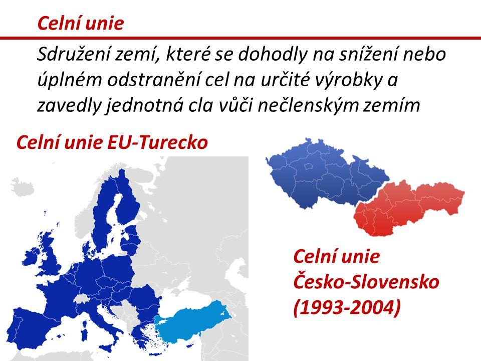 Celní unie Sdružení zemí, které se dohodly na snížení nebo úplném odstranění cel na určité výrobky a zavedly jednotná cla vůči nečlenským zemím Celní