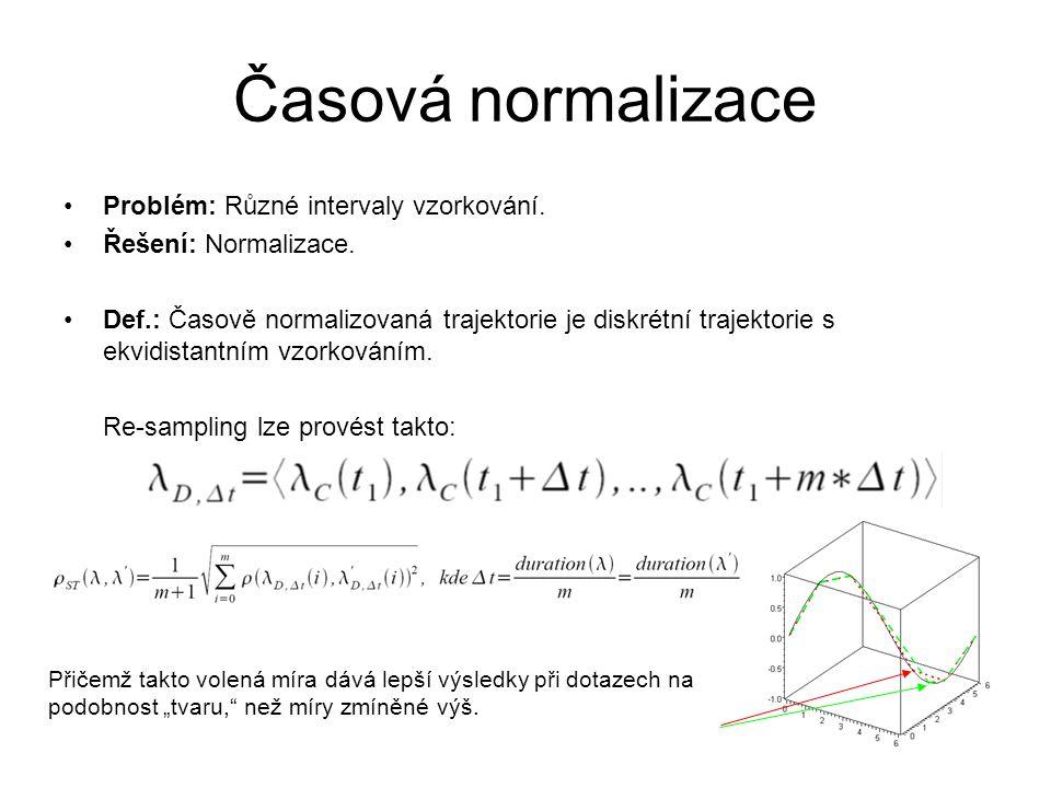 Časová normalizace Problém: Různé intervaly vzorkování. Řešení: Normalizace. Def.: Časově normalizovaná trajektorie je diskrétní trajektorie s ekvidis