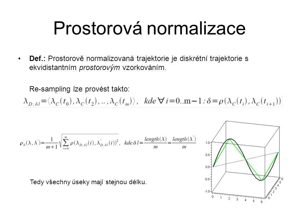 Prostorová normalizace Def.: Prostorově normalizovaná trajektorie je diskrétní trajektorie s ekvidistantním prostorovým vzorkováním. Re-sampling lze p