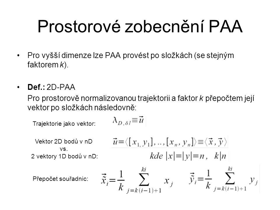 Prostorové zobecnění PAA Pro vyšší dimenze lze PAA provést po složkách (se stejným faktorem k). Def.: 2D-PAA Pro prostorově normalizovanou trajektorii