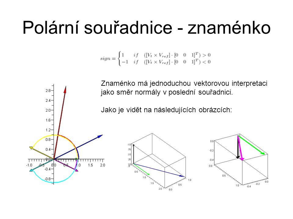 Polární souřadnice - znaménko Znaménko má jednoduchou vektorovou interpretaci jako směr normály v poslední souřadnici. Jako je vidět na následujících