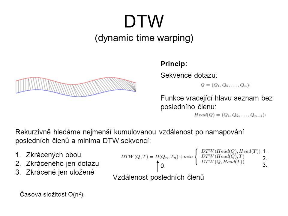 DTW (dynamic time warping) Časová složitost O(n 2 ). Sekvence dotazu: Funkce vracející hlavu seznam bez posledního členu: Rekurzivně hledáme nejmenší