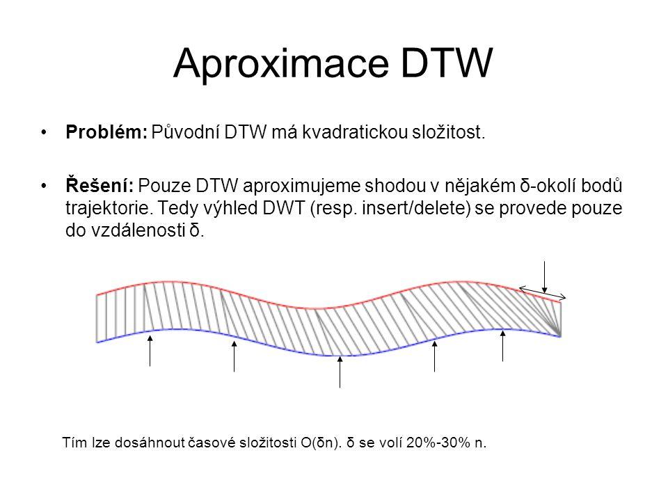 Aproximace DTW Problém: Původní DTW má kvadratickou složitost. Řešení: Pouze DTW aproximujeme shodou v nějakém δ-okolí bodů trajektorie. Tedy výhled D