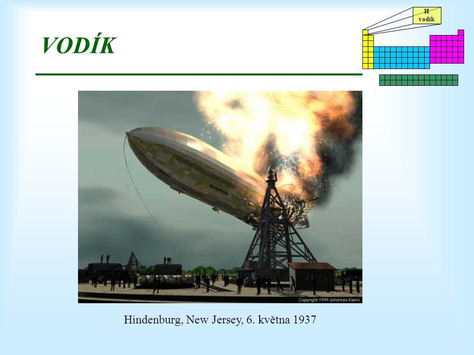 H vodík VODÍK Hindenburg, New Jersey, 6. května 1937