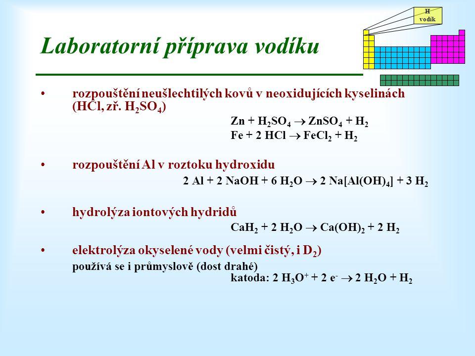 H vodík Laboratorní příprava vodíku rozpouštění neušlechtilých kovů v neoxidujících kyselinách (HCl, zř. H 2 SO 4 ) Zn + H 2 SO 4  ZnSO 4 + H 2 Fe +