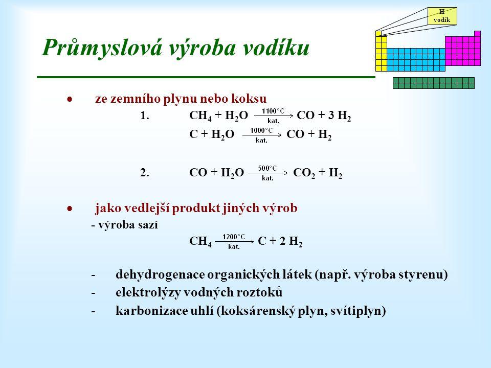 H vodík Průmyslová výroba vodíku  ze zemního plynu nebo koksu 1.CH 4 + H 2 O CO + 3 H 2 C + H 2 O CO + H 2 2.CO + H 2 O CO 2 + H 2  jako vedlejší pr