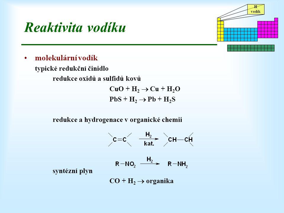 H vodík Reaktivita vodíku molekulární vodík typické redukční činidlo redukce oxidů a sulfidů kovů CuO + H 2  Cu + H 2 O PbS + H 2  Pb + H 2 S redukc