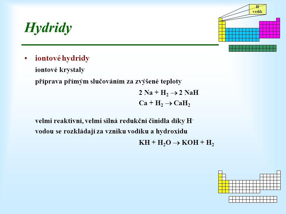 H vodík Hydridy iontové hydridy iontové krystaly příprava přímým slučováním za zvýšené teploty 2 Na + H 2  2 NaH Ca + H 2  CaH 2 velmi reaktivní, ve
