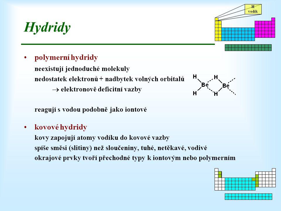 H vodík Hydridy polymerní hydridy neexistují jednoduché molekuly nedostatek elektronů + nadbytek volných orbitalů  elektronově deficitní vazby reaguj