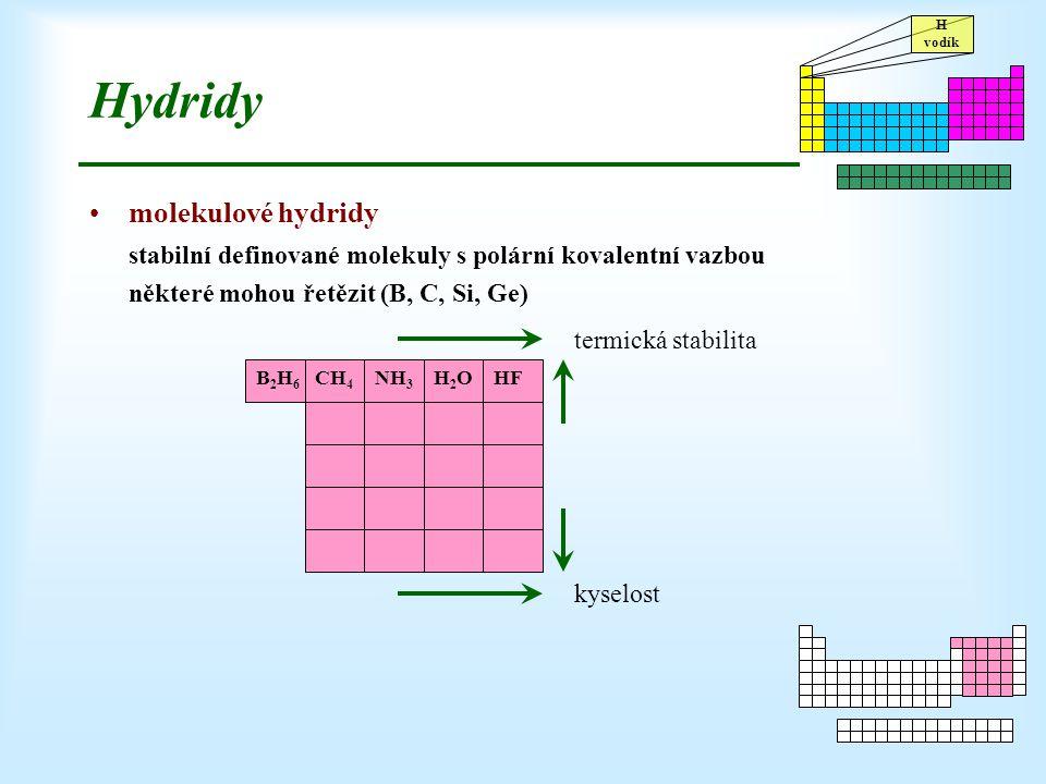 H vodík Hydridy molekulové hydridy stabilní definované molekuly s polární kovalentní vazbou některé mohou řetězit (B, C, Si, Ge) CH 4 NH 3 H2OH2OHFB2H