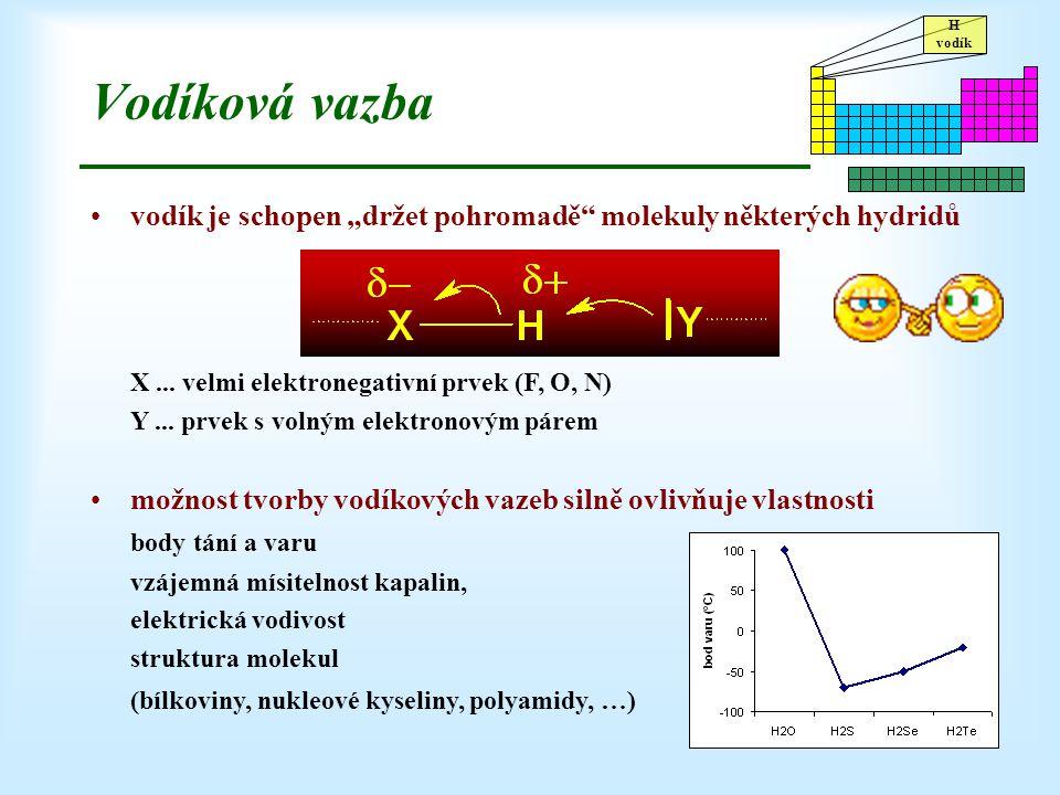 """H vodík Vodíková vazba vodík je schopen """"držet pohromadě"""" molekuly některých hydridů X... velmi elektronegativní prvek (F, O, N) Y... prvek s volným e"""