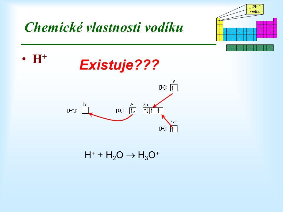 H vodík Chemické vlastnosti vodíku H + Existuje??? H + + H 2 O  H 3 O +