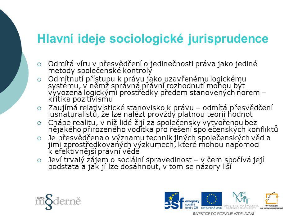 Hlavní ideje sociologické jurisprudence  Odmítá víru v přesvědčení o jedinečnosti práva jako jediné metody společenské kontroly  Odmítnutí přístupu