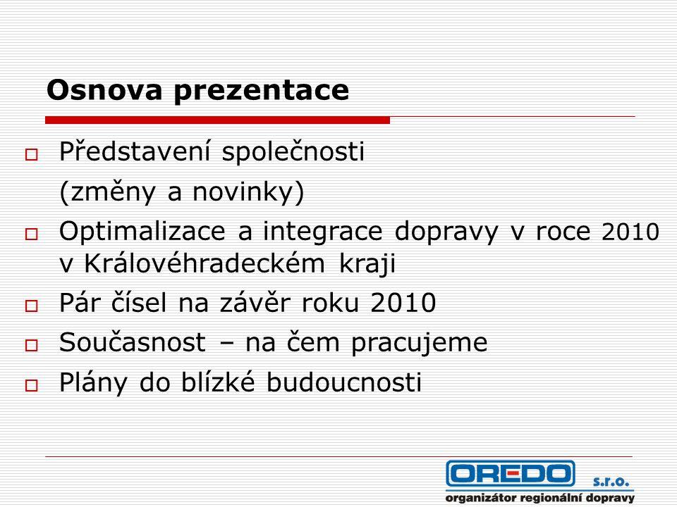 Osnova prezentace  Představení společnosti (změny a novinky)  Optimalizace a integrace dopravy v roce 2010 v Královéhradeckém kraji  Pár čísel na závěr roku 2010  Současnost – na čem pracujeme  Plány do blízké budoucnosti