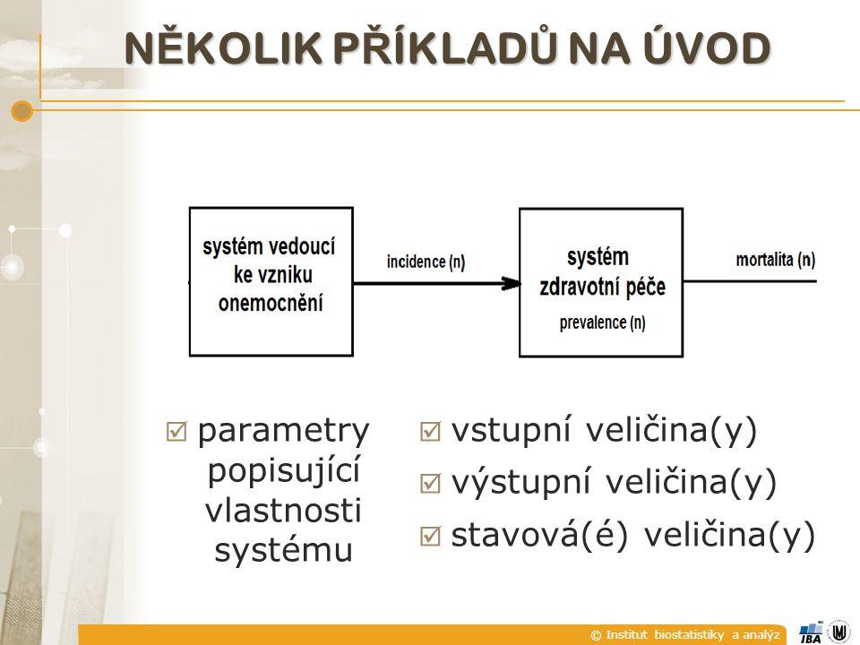 © Institut biostatistiky a analýz N Ě KOLIK P Ř ÍKLAD Ů NA ÚVOD  vstupní veličina(y)  výstupní veličina(y)  stavová(é) veličina(y)