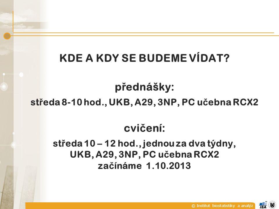 © Institut biostatistiky a analýz KDE A KDY SE BUDEME VÍDAT.