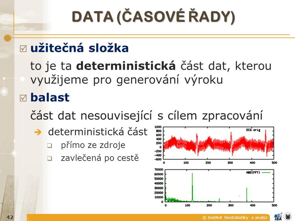 © Institut biostatistiky a analýz ZÁKLADNÍ KONCEPT  užitečná složka to je ta deterministická část dat, kterou využijeme pro generování výroku  balast část dat nesouvisející s cílem zpracování  deterministická část  přímo ze zdroje 41