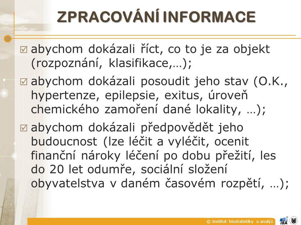 © Institut biostatistiky a analýz K čemu ta informace bude ZPRACOVÁNÍ INFORMACE