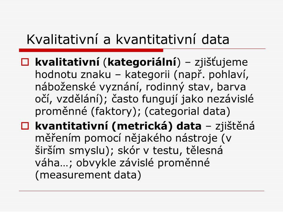 Kvalitativní a kvantitativní data  kvalitativní (kategoriální) – zjišťujeme hodnotu znaku – kategorii (např. pohlaví, náboženské vyznání, rodinný sta