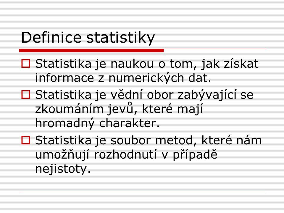 Definice statistiky  Analýza dat náhodného charakteru, která předpokládá použití pokročilejšího aparátu matematiky a určitého matematického modelu (teorie pravděpodobnosti).