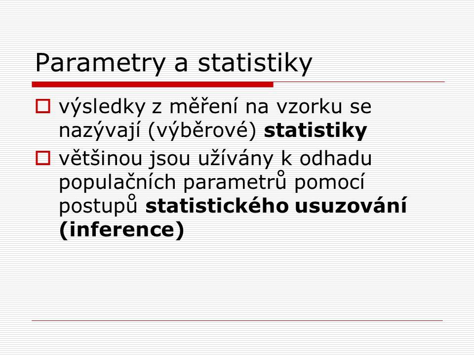 Parametry a statistiky  výsledky z měření na vzorku se nazývají (výběrové) statistiky  většinou jsou užívány k odhadu populačních parametrů pomocí p