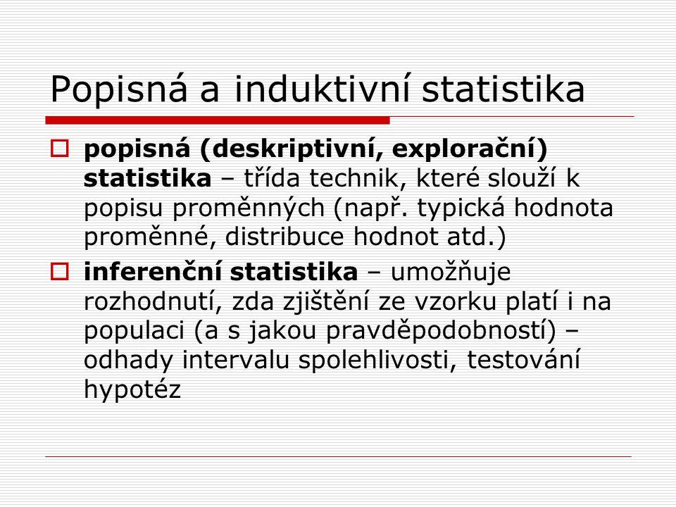 Popisná a induktivní statistika  popisná (deskriptivní, explorační) statistika – třída technik, které slouží k popisu proměnných (např. typická hodno