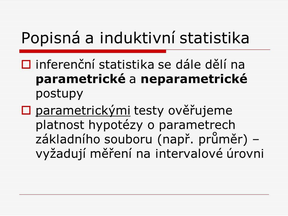 Popisná a induktivní statistika  inferenční statistika se dále dělí na parametrické a neparametrické postupy  parametrickými testy ověřujeme platnos