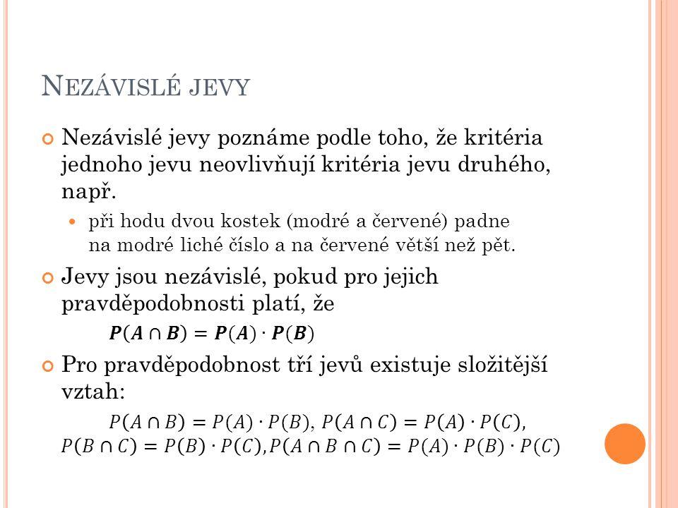 N EZÁVISLÉ JEVY