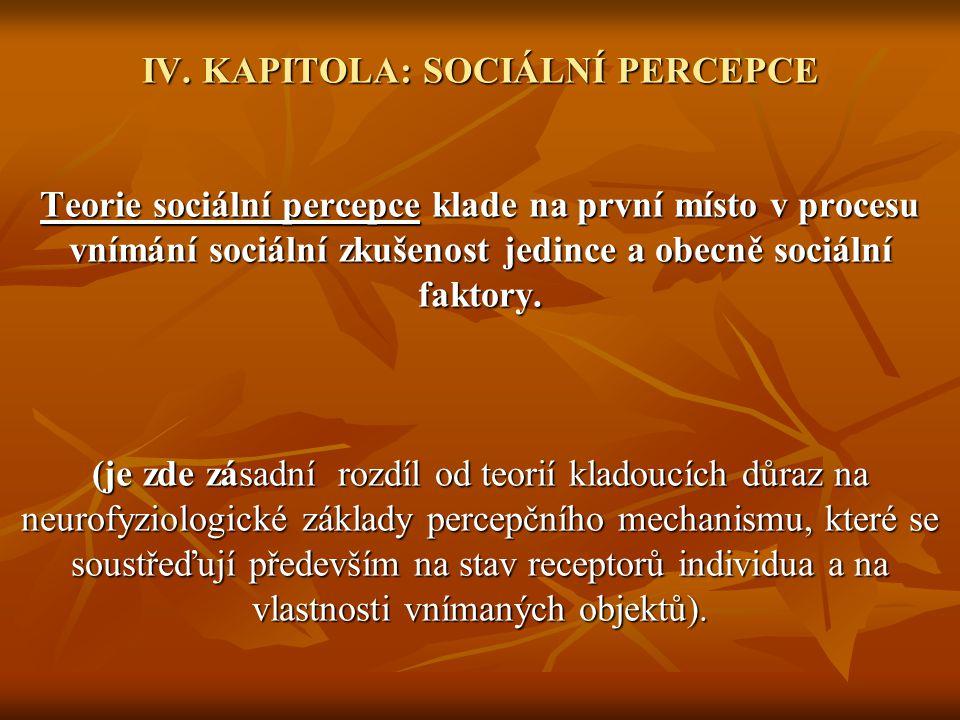 IV. KAPITOLA: SOCIÁLNÍ PERCEPCE Teorie sociální percepce klade na první místo v procesu vnímání sociální zkušenost jedince a obecně sociální faktory.