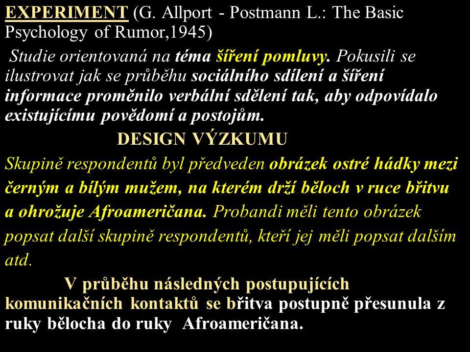 EXPERIMENT (G. Allport - Postmann L.: The Basic Psychology of Rumor,1945) Studie orientovaná na téma šíření pomluvy. Pokusili se ilustrovat jak se prů