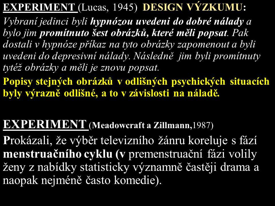 EXPERIMENT (Lucas, 1945) DESIGN VÝZKUMU: Vybraní jedinci byli hypnózou uvedeni do dobré nálady a bylo jim promítnuto šest obrázků, které měli popsat.