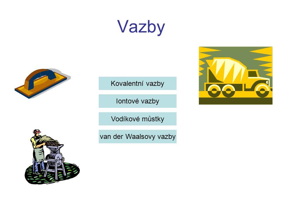 Vazby Kovalentní vazby Iontové vazby Vodíkové můstky van der Waalsovy vazby