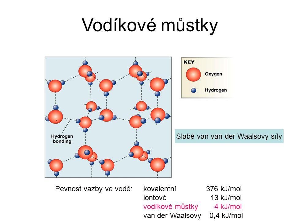 Vodíkové můstky Pevnost vazby ve vodě: kovalentní 376 kJ/mol iontové 13 kJ/mol vodíkové můstky 4 kJ/mol van der Waalsovy 0,4 kJ/mol Slabé van van der