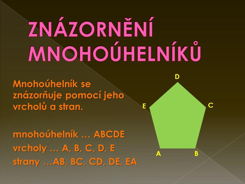 Mnohoúhelník se znázorňuje pomocí jeho vrcholů a stran.