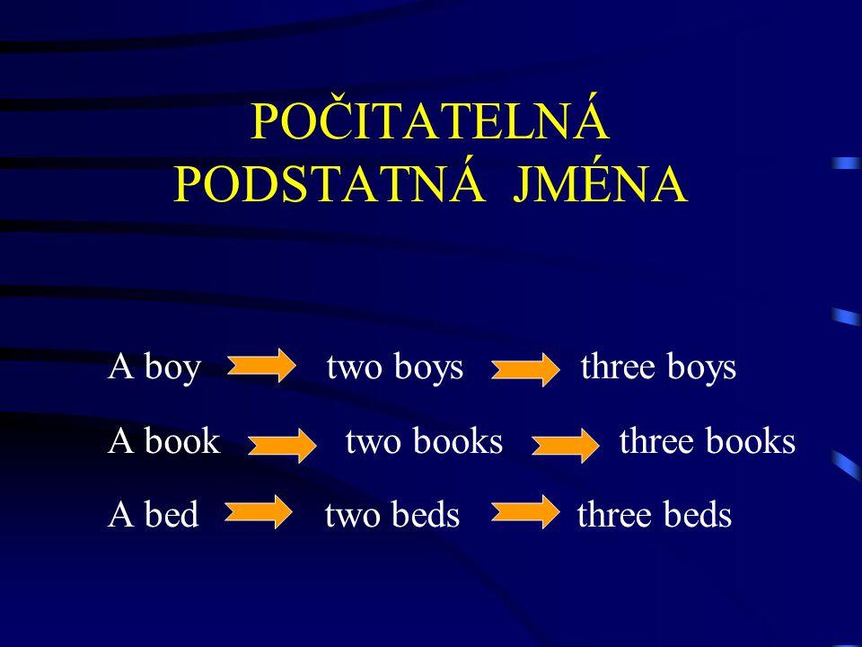 POČITATELNÁ PODSTATNÁ JMÉNA A boy two boys three boys A book two books three books A bed two beds three beds