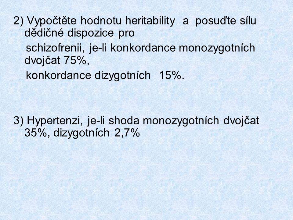 2) Vypočtěte hodnotu heritability a posuďte sílu dědičné dispozice pro schizofrenii, je-li konkordance monozygotních dvojčat 75%, konkordance dizygotních 15%.