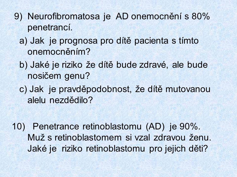 9) Neurofibromatosa je AD onemocnění s 80% penetrancí.