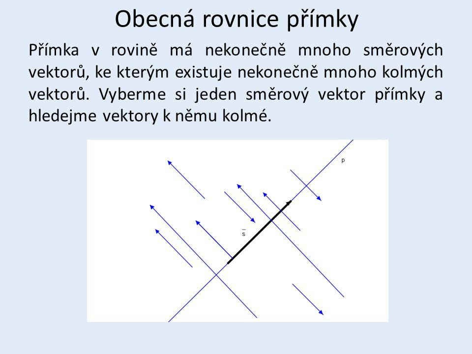 Obecná rovnice přímky Přímka v rovině má nekonečně mnoho směrových vektorů, ke kterým existuje nekonečně mnoho kolmých vektorů. Vyberme si jeden směro