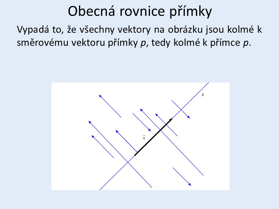 Obecná rovnice přímky Vypadá to, že všechny vektory na obrázku jsou kolmé k směrovému vektoru přímky p, tedy kolmé k přímce p.