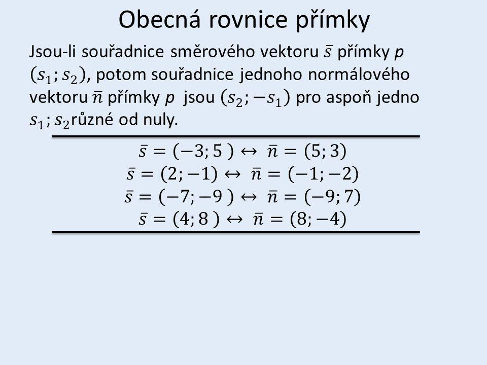 Obecná rovnice přímky