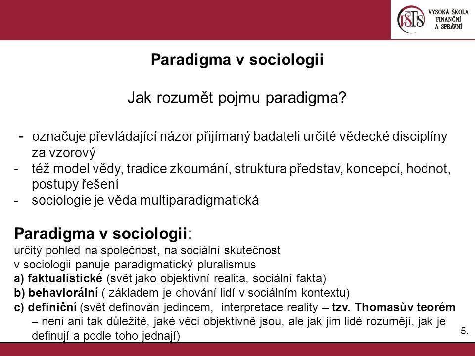 6.6. Paradigma v sociologii autorita metodologie optika PARADIGMA problematika jazyk teorie