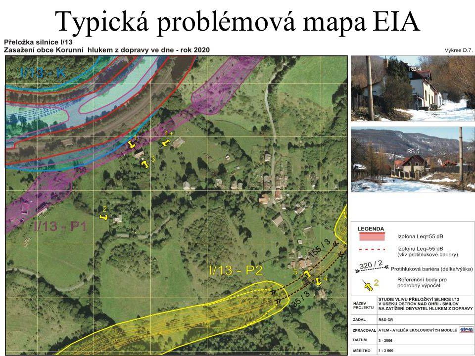 Typická problémová mapa EIA
