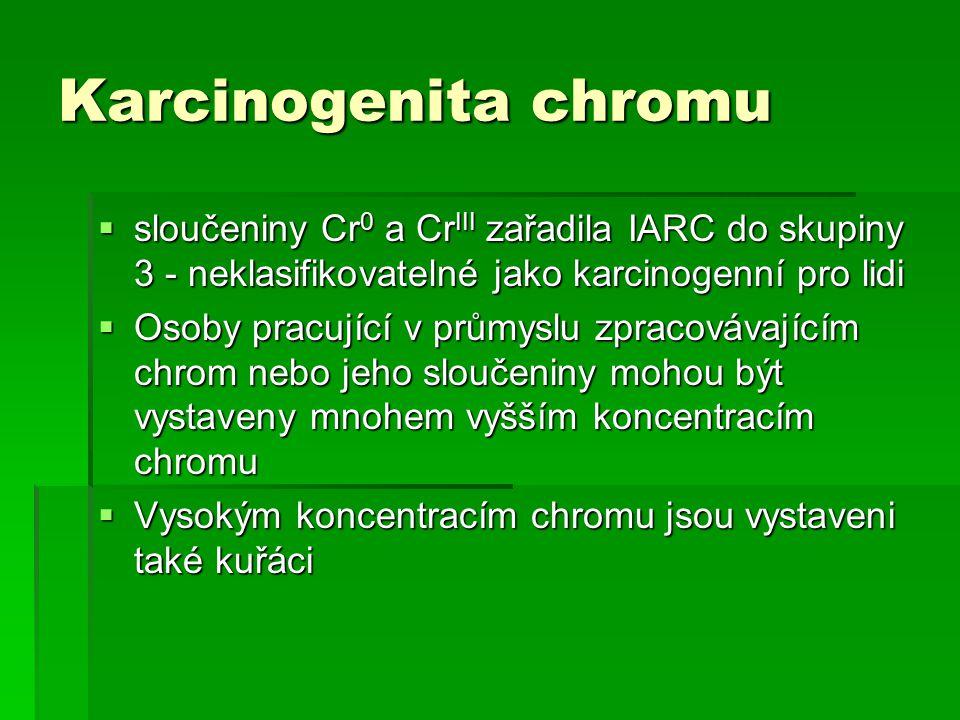 Karcinogenita chromu  sloučeniny Cr 0 a Cr III zařadila IARC do skupiny 3 - neklasifikovatelné jako karcinogenní pro lidi  Osoby pracující v průmyslu zpracovávajícím chrom nebo jeho sloučeniny mohou být vystaveny mnohem vyšším koncentracím chromu  Vysokým koncentracím chromu jsou vystaveni také kuřáci
