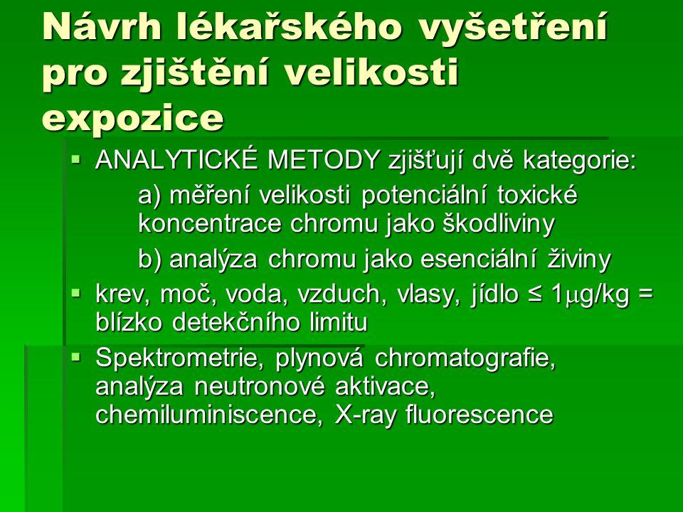 Návrh lékařského vyšetření pro zjištění velikosti expozice  ANALYTICKÉ METODY zjišťují dvě kategorie: a) měření velikosti potenciální toxické koncent