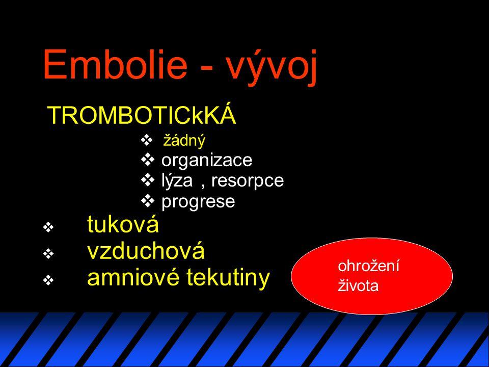 Embolie - vývoj TROMBOTICkKÁ v žádný  organizace  lýza, resorpce  progrese v tuková v vzduchová v amniové tekutiny ohrožení života